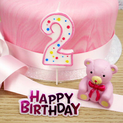 Baby's 2nd Birthday PINK Teddy Bear Cake Decoration Set