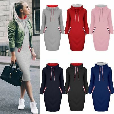 UK Women Ladies Long Sleeve Hoody Sweatshirt Sweater Hoodies Jumper Winter Dress