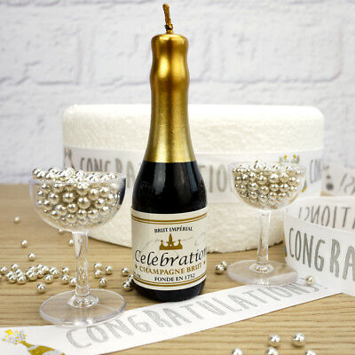 Champagne And Glasses 'Celebrations' Cake Decoration Set (With Silver Dragees)