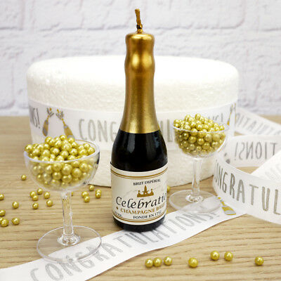 Champagne And Glasses 'Celebrations' Cake Decoration Set (With Gold Dragees)
