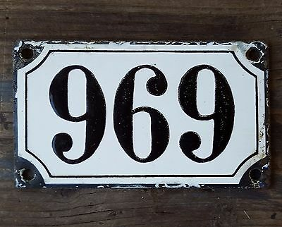 ANTIQUE FRENCH HOUSE NUMBER SIGN door PLATE PLAQUE Enamel Black white 969 696