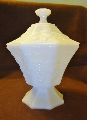 Anchor Hocking Milk White Octagon Grape Paneled Covered Candy Dish