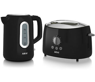 Akai 1.7 Litre Cordless Electric Jug Kettle And 2 Slice Cool Touch Toaster Black