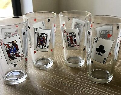 Pint Glasses - 4 - King - Queen - Jack - Aces -Texas Hold 'em