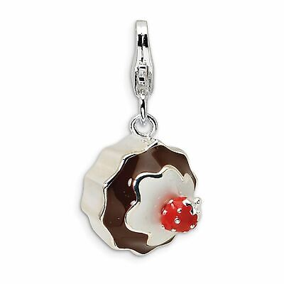 Lex /& Lu Sterling Silver 3-D Enameled Orca Whale w//Lobster Clasp Charm
