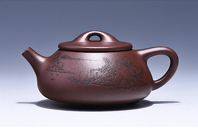 Chinese Yixing Zisha old purple clay teapot Jingzhou Shi Piao Hu Tea Pot 220cc