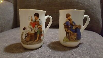"""Lot of (2) Norman Rockwell Coffee/Tea Cups """"Bed Time""""  & """"A Dollhouse For Sis"""""""
