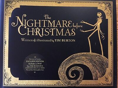 THE NIGHTMARE BEFORE CHRISTMAS Hardcover+DVD NEW Tim Burton DISNEY FREE SHIP