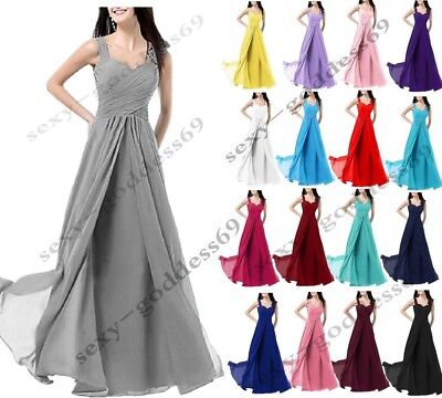 New Long Chiffon Evening Formal Party Ball Gown Prom Bridesmaid Dress Size 6~28