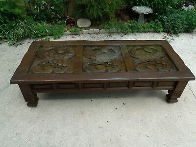 Large 1960s Mediterranean Style Hand Carved Solid Oak Coffee Table With Glass In