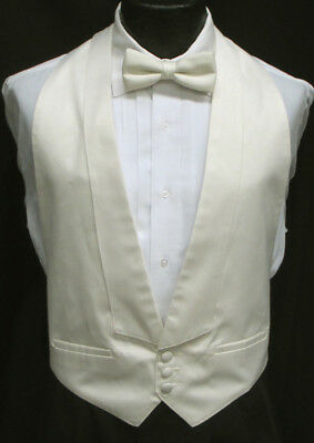 Ivory Off-White Satin Open Back Backless Tuxedo Vest Wedding Prom Mason Tails
