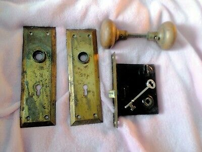 Antique Vintage Brass Door Knob Set w/ Lock - Plates and Key