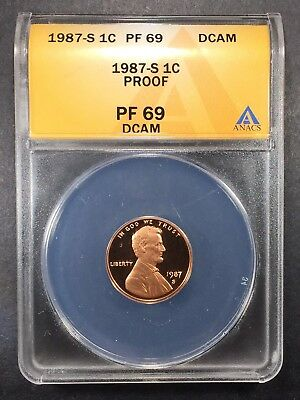 1987-S Proof Lincoln Memorial Cent ANACS PF-69 DCAM, Buy 3 Get $5 Off!!! R7039