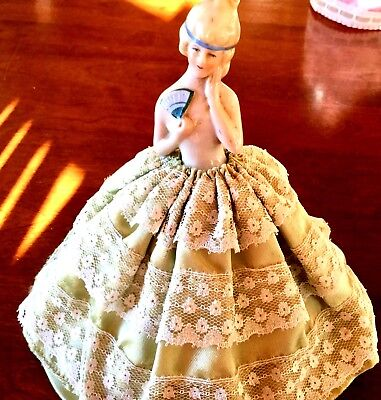 Antique Pin Cushion Half Doll  * French Woman With Fan *  Free Shipping