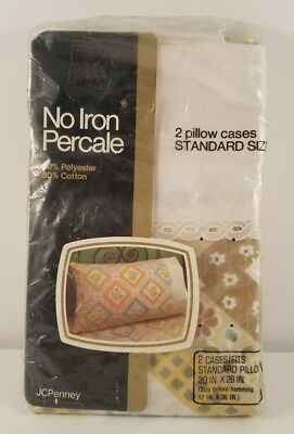 NIP Vtg JCPenney No Iron Percale Standard Pillow Case Floral