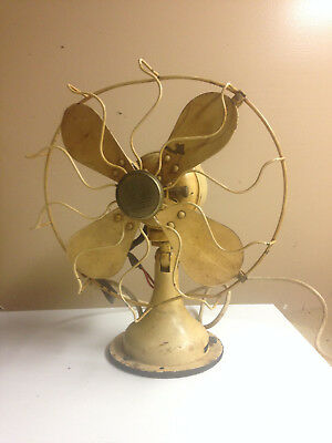 """Vintage 1920's Westinghouse Ivory 10"""" Oscillating Electric Fan"""