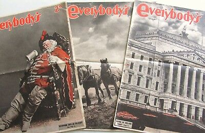 Lot of 3: Everybody's Weekly 1944 and 1945 vintage British tabloid WWII era