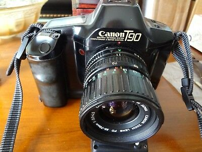 Canon T90 35mm SLR Film Camera with Lens Canon 35-70 F3.5-F4.5. Case Works.