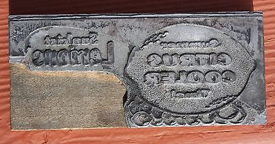 "Vintage ""Sunkist"" label metal on wood printer's block 2 3/4 X 6 inches #1"