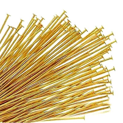 """200 Gold Plated Head Pins 1"""" 1.5"""" 2"""" Findings For Jewellery Making"""