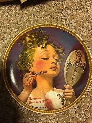 """""""making Believe At The Mirror """" Norman Rockwell Collectible Plate"""