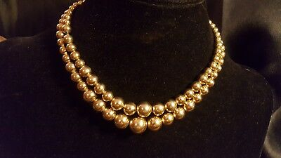 Vintage Double Strand Art Deco Brass Graduated Beaded Choker on Chain Necklace