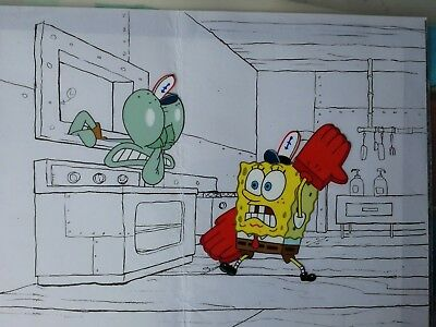 Nickelodeon TV SpongeBob Original Animation Art Master Background Cel Set Up #16