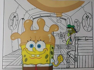 Nickelodeon TV SpongeBob Original Animation Art Master Background Cel Set Up #24