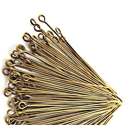 200 Bronze Plated Eye Pins 1.5'' 2'' Findings For Jewellery Making