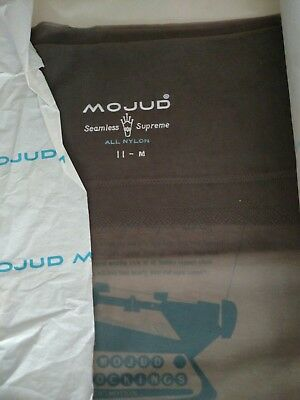 Mojud Seamless Supreme Vintage Sheer Stockings 11M. Dove Grey NOS