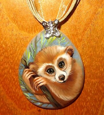 Pendant Lemur of Madagascar Natural Necklace Russian Hand Painted Stone signed