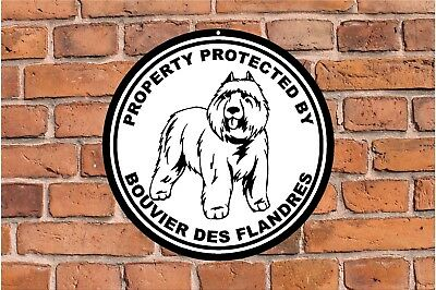 Property protected by Bouvier des Flandres fence dog round aluminum metal sign