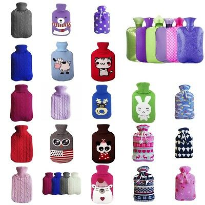 2000ml HOT WATER BOTTLE Winter Warm Rubber Bag Knitted Cover Relaxing Warmer