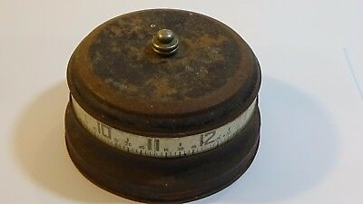 Vintage Tape Measure Rotary Wind-Up Clock  - NOT WORKING FOR PARTS/REPAIR  #D1