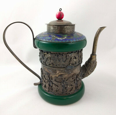 """Antique Chinese Qing Dynasty Jade Silver Cloisonne Dragon Tea Pot 5"""" tall"""