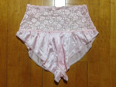 Vintage ALANA GALE Baby Pink Hi Waist Lace Pin Up Sissy Panties Shorts Lingerie