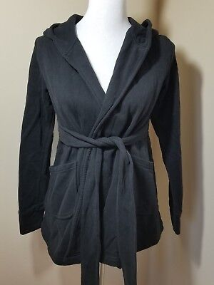 Small George Maternity Hoodie Front Tie Sweater Jacket Black Pockets