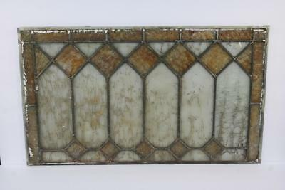"""Vintage Antique Leaded Stained-Glass Window Panel 24"""" x 14""""– Unframed-01"""