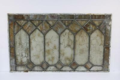 """Vintage Antique Leaded Stained-Glass Window Panel 24"""" x 14"""" – Unframed-02"""