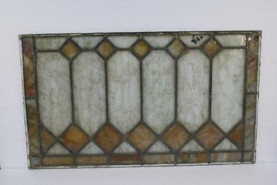 """Vintage Antique Leaded Stained-Glass Window Panel 24"""" x 14"""" – Unframed-03"""