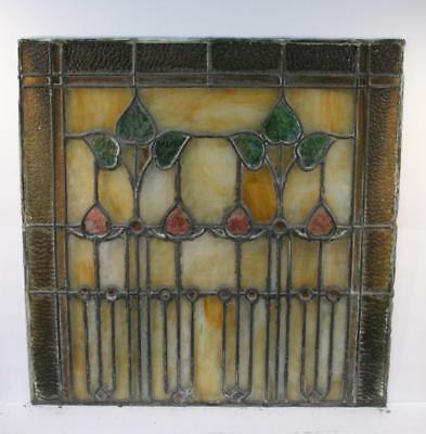 """Vintage Antique Leaded Stained-Glass Window Panel 24"""" x 24""""– Unframed-11"""