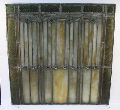 """Vintage Antique Leaded Stained-Glass Window Panel 24"""" x 24""""– Unframed-13"""