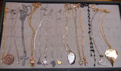 Vintage Lot Of 15 Pendant Necklaces,3 Sterling,avon,disney 2 By 1928