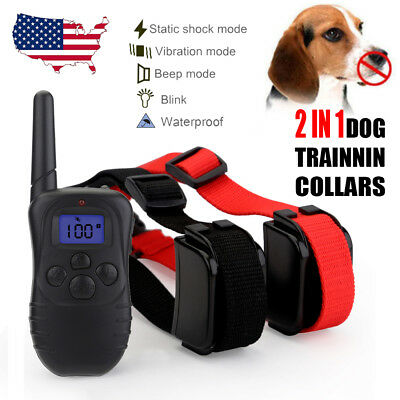 Rechargeable Pet Dog Training Collar Two Electric Shock Collar With LCD Remote