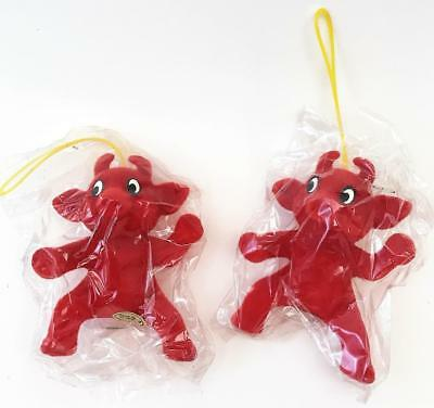 2 Sweet New in Package Vintage Little Red Devil Ornament ~ Hong Kong