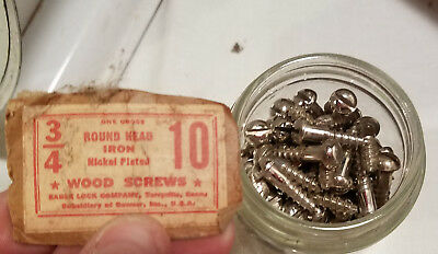 "#10 x 3/4"" Round Head Nickel Plated Iron Wood Screws Slotted Qty. 75 OLD STOCK"