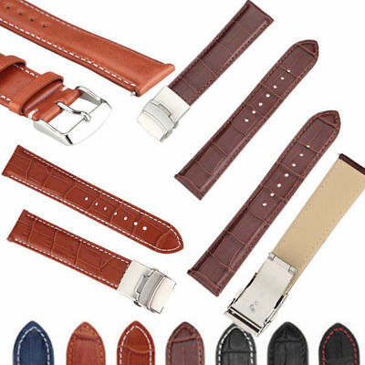 High Quality Mens Genuine Soft Leather Watch Band Strap with Buckle 18mm-22mm