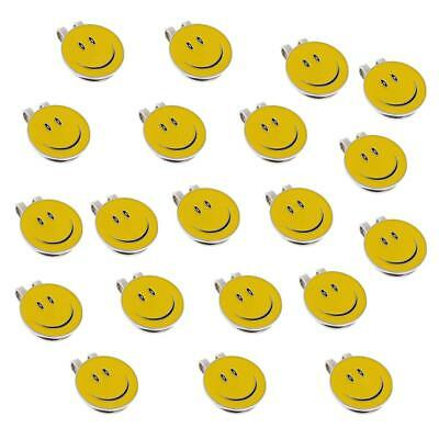 20 Pcs Sturdy Smile Face Magnet Hat Clip Golf Ball Marker / Cap Visor Clip
