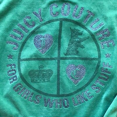 """Juicy Couture XL Green Dog Crown Pattern """"For Girls Who Like Stuff"""" Hoodie FLAWS"""