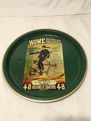"Vintage 12.5"" Metal Tray Howe Bicycles Glascow Paris Man Cave Decor"
